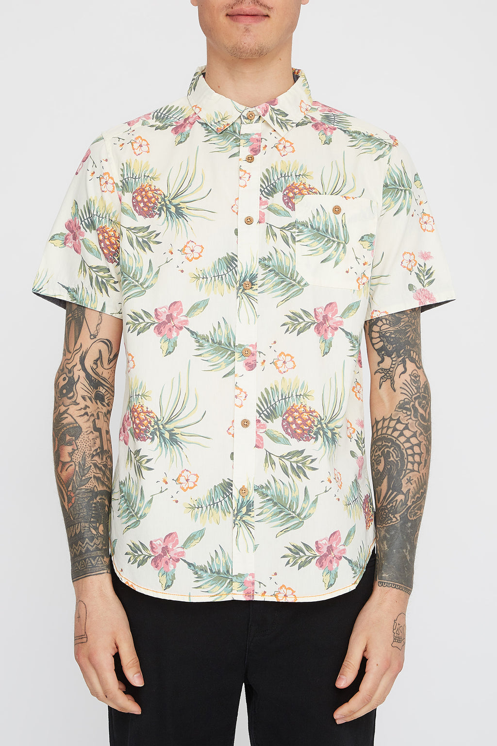 West49 Mens Pineapple Button Up Shirt