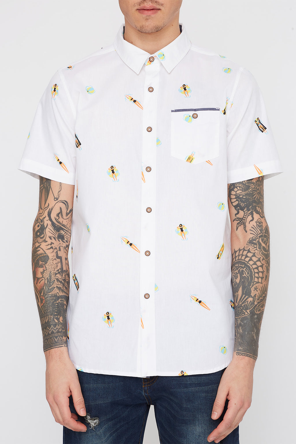 Mens Swimmers Button Up Shirt