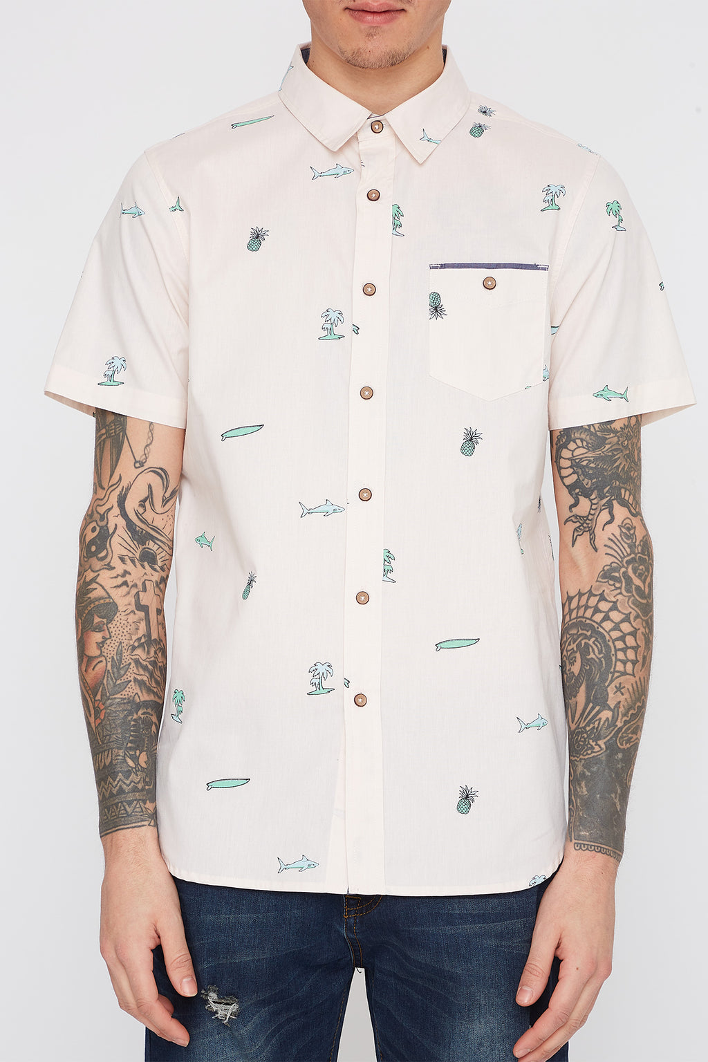 Mens Sharkwater Button Up Shirt