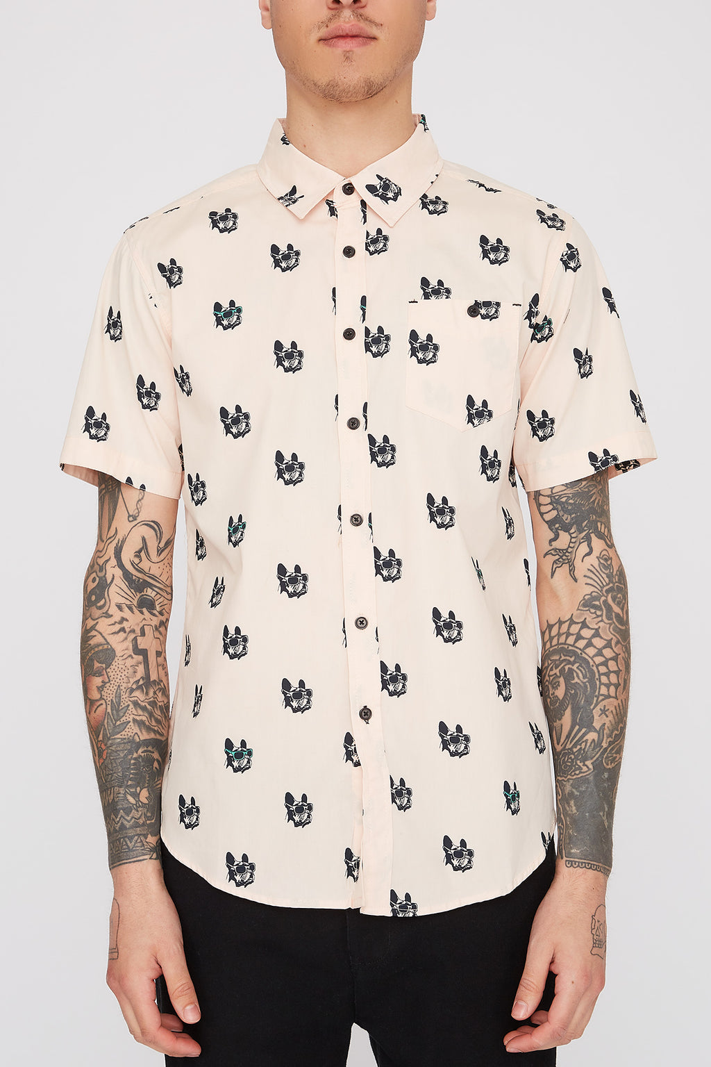West49 Mens Bulldog Button Up Shirt