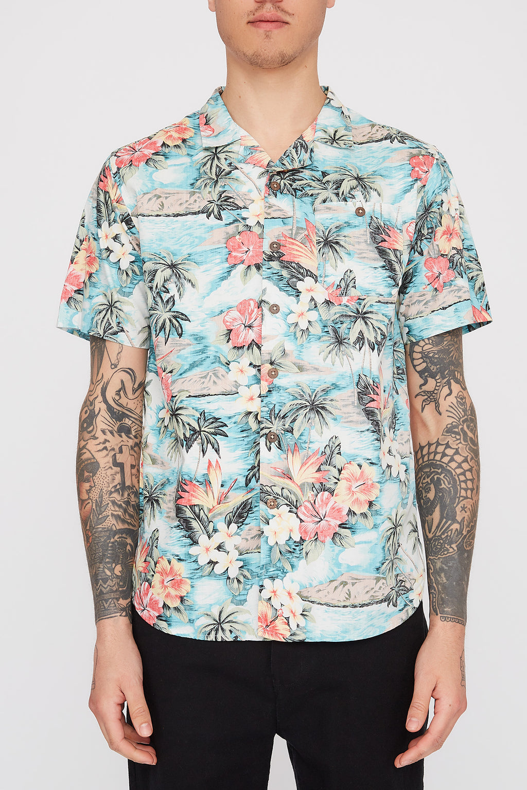 West49 Mens Floral Reverse Button Up Shirt