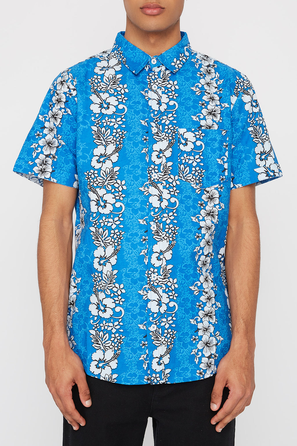 West49 Mens Hibiscus Button Up Shirt