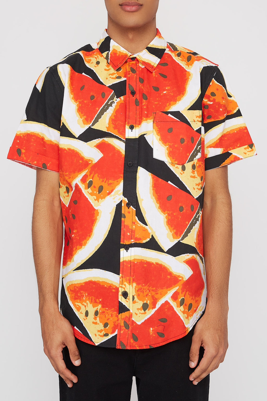 West49 Mens Watermelon Button Up Shirt