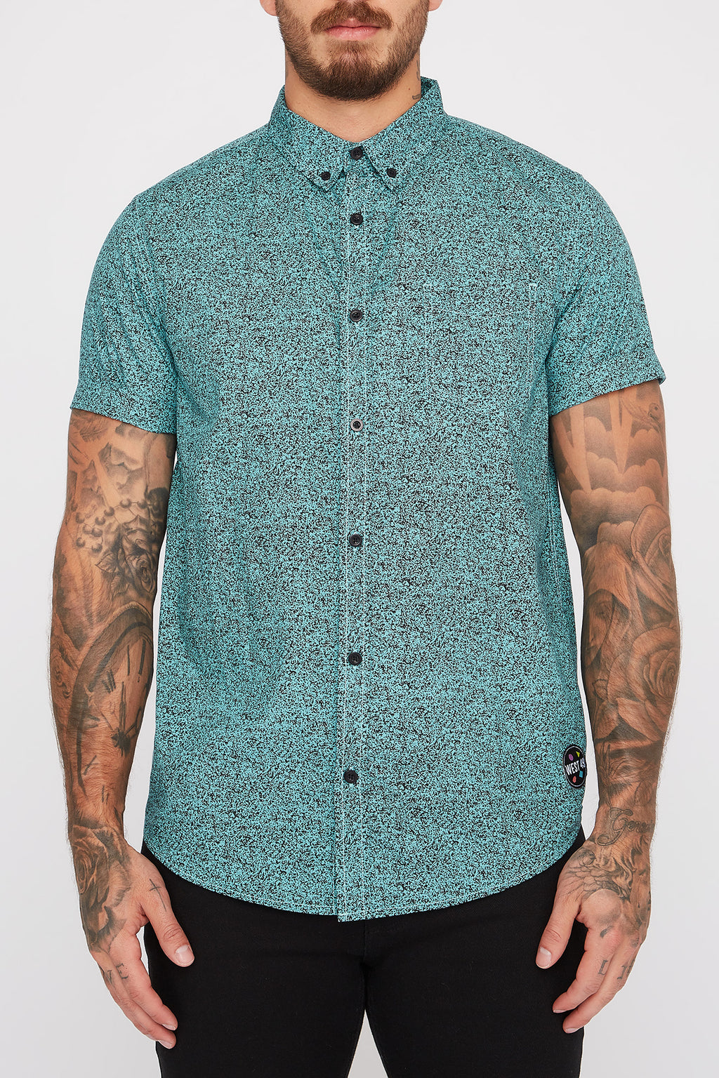 West49 Mens Cotton Speckle Print Button Up Shirt