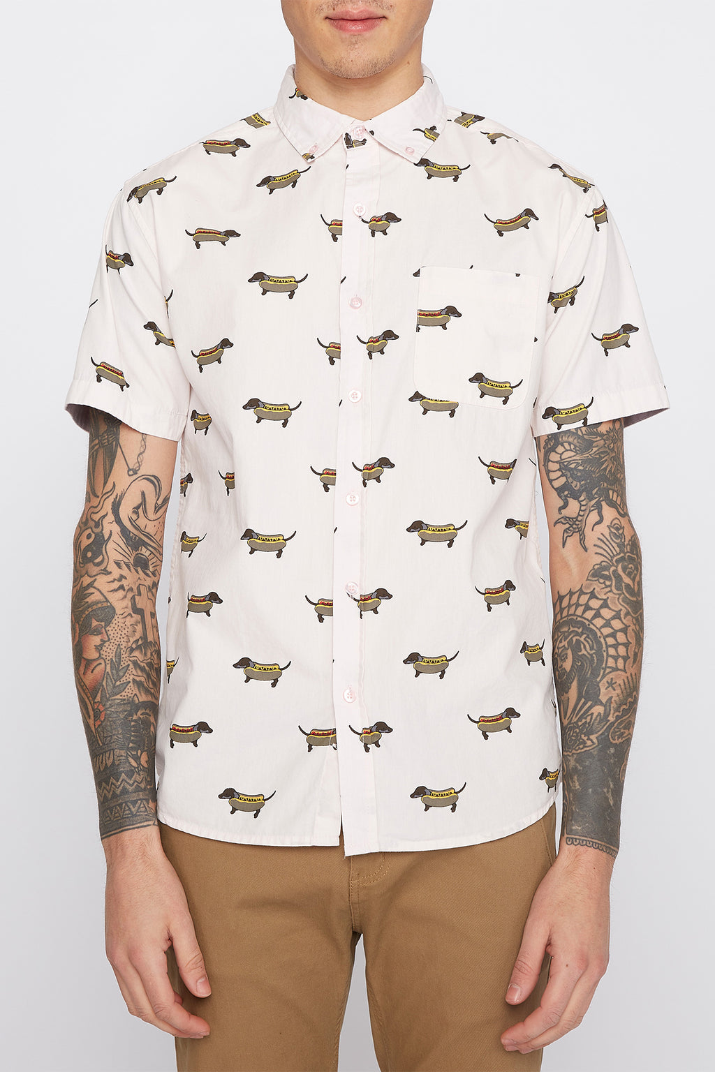 Mens Hot Dog Button Up Shirt