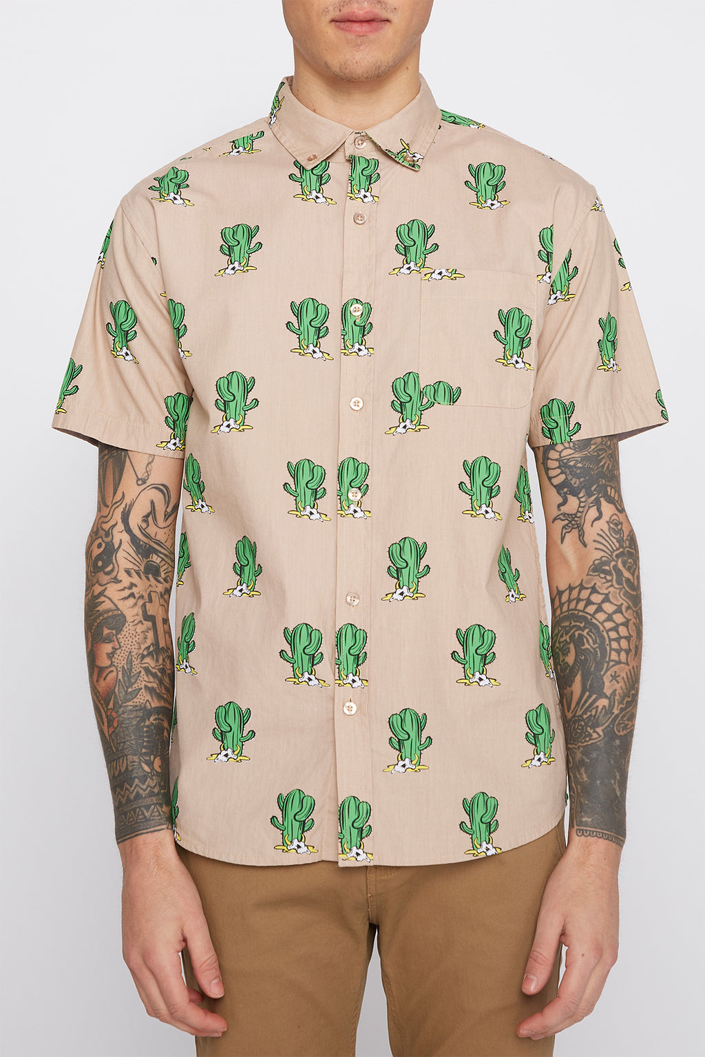 Mens Cactus Button Up Shirt