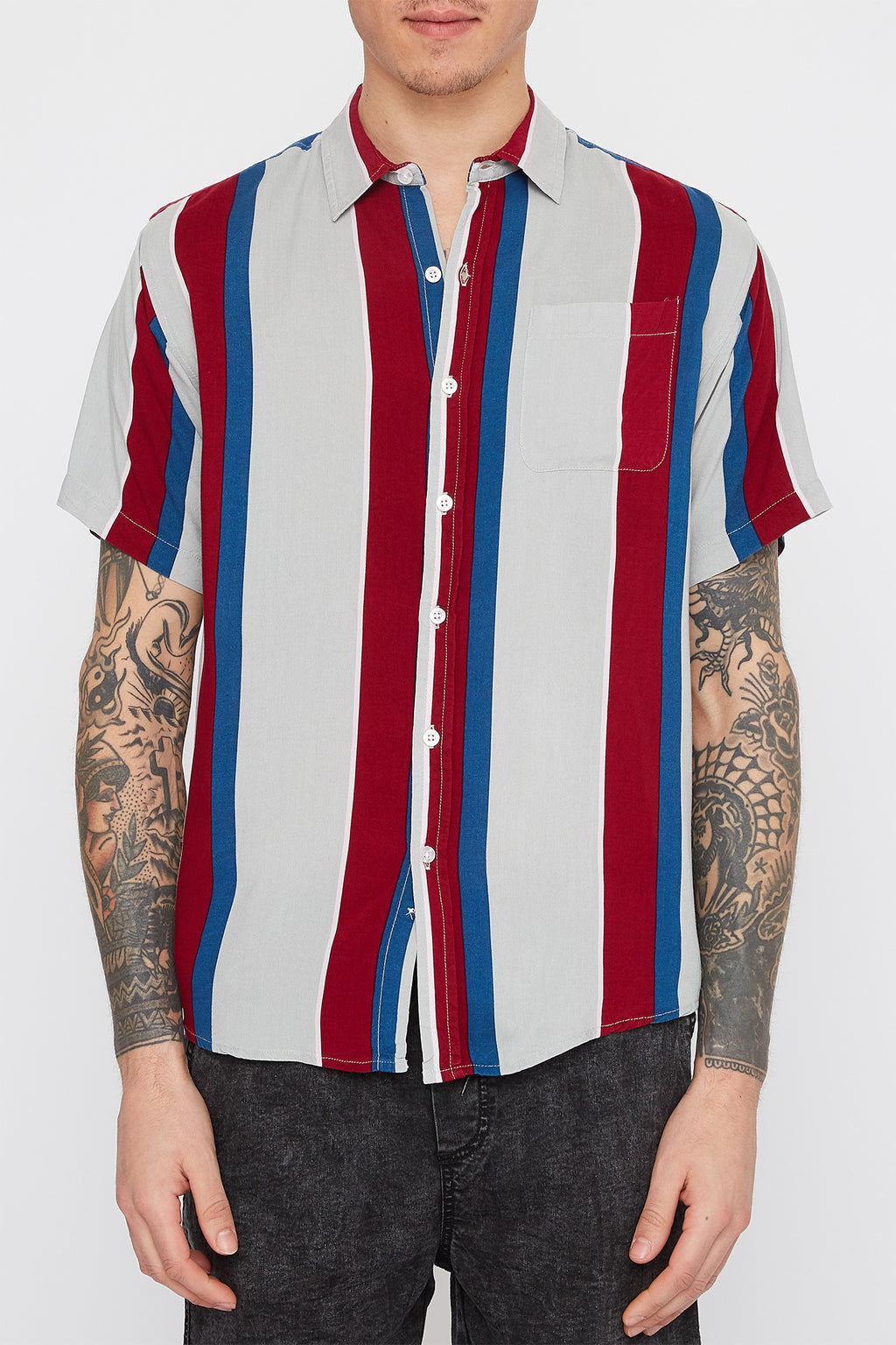 Mens Thick Stripe Bowling Button Up Shirt