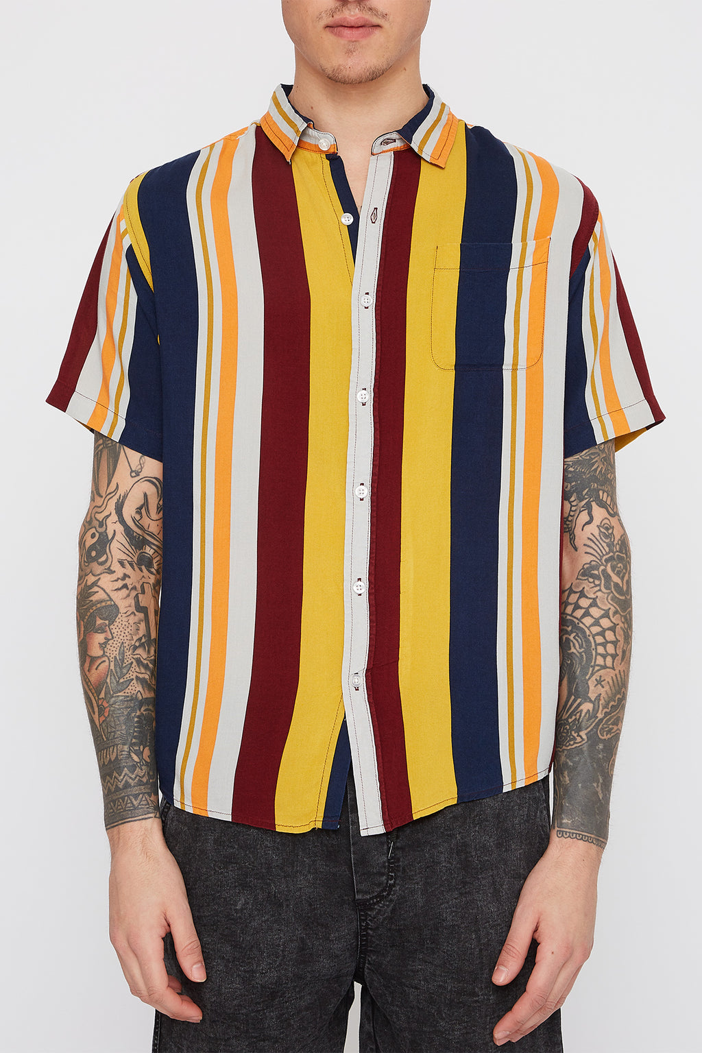 Mens Multi Stripe Bowling Button Up Shirt