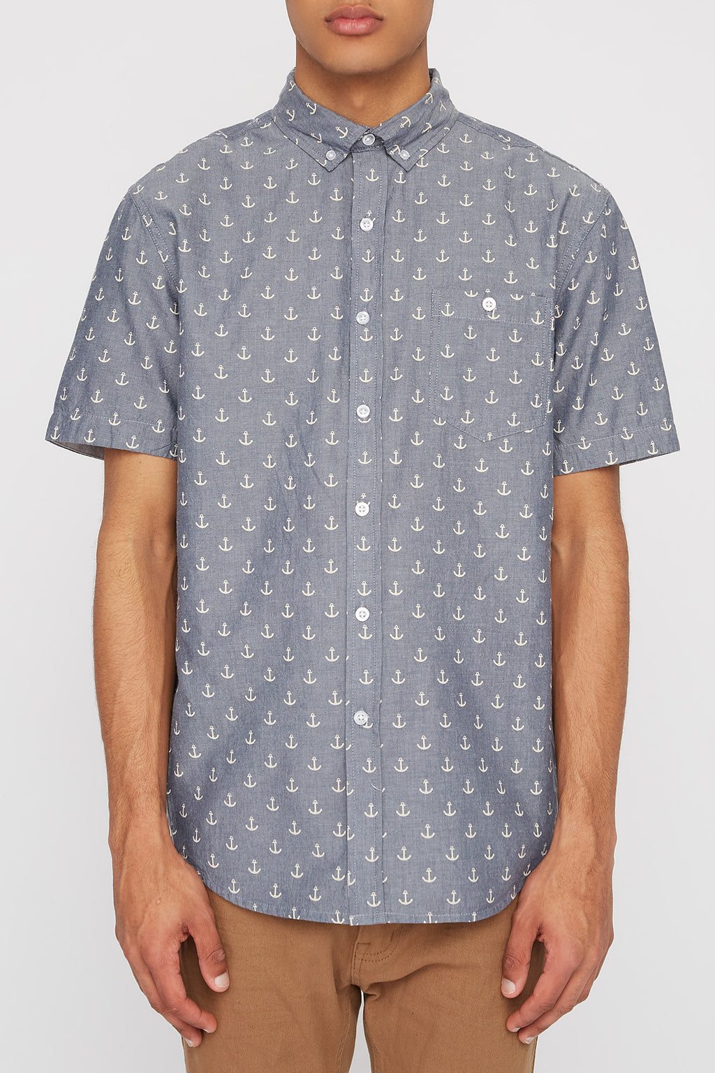 West49 Mens Anchor Button Up Shirt
