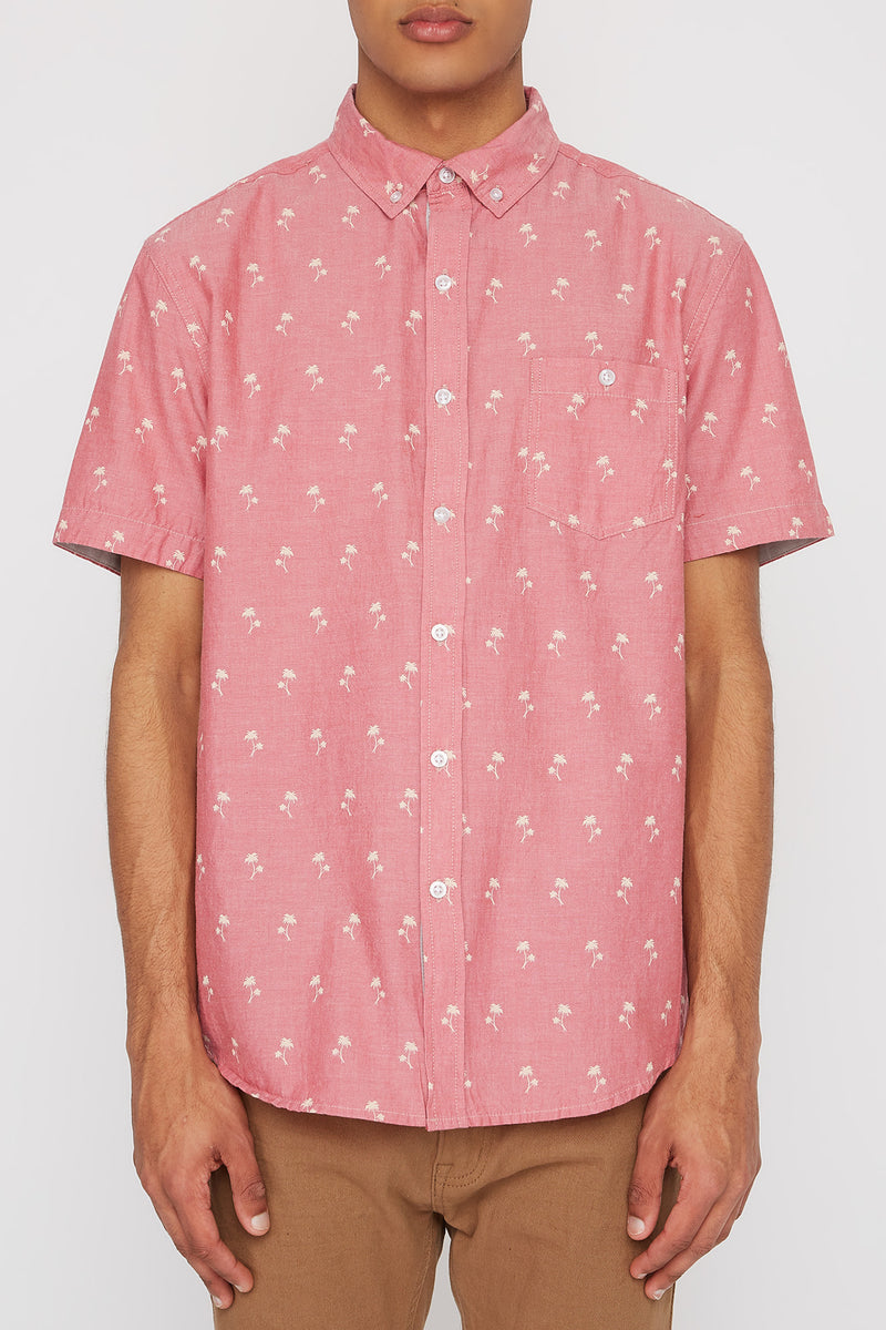 West49 Mens Palm Tree Button Up Shirt