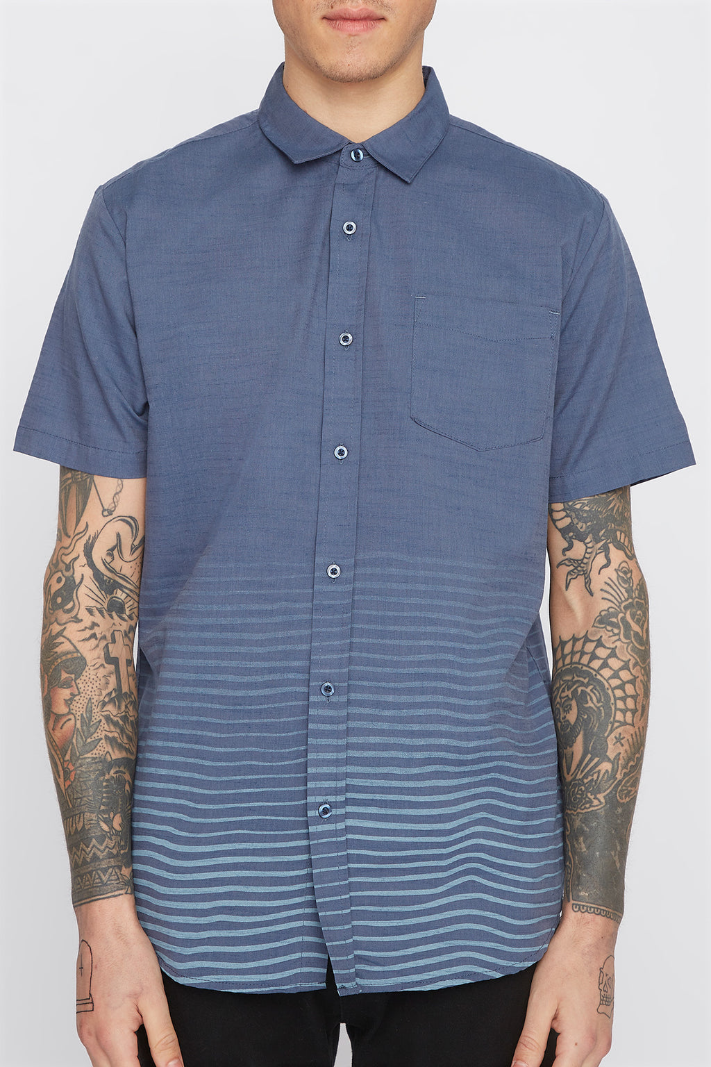 West49 Mens Wave Graphic Button Up