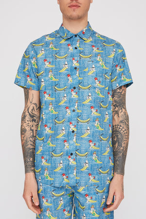 West49 Mens Fun Graphic Button-Up Shirt