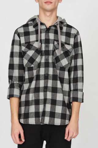 West49 Mens Buffalo Hooded Plaid Shirt