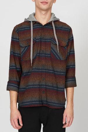 West49 Mens Hooded Plaid Shirt