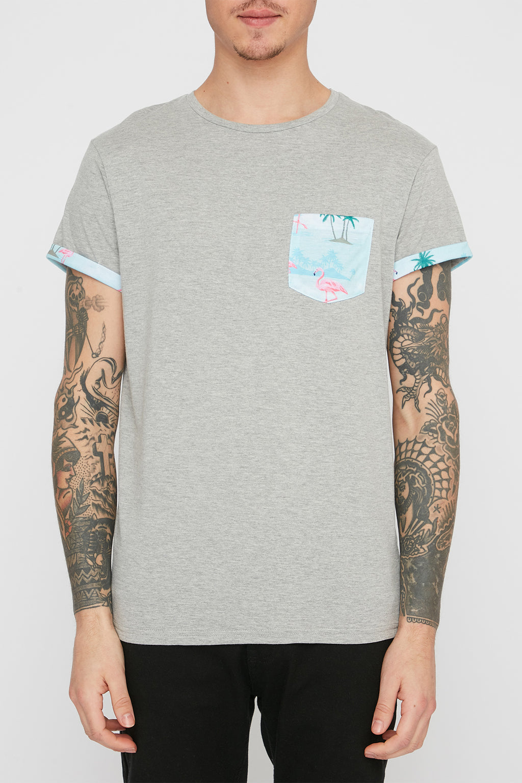 Zoo York Mens Flamingo and Floral Pocket Tees