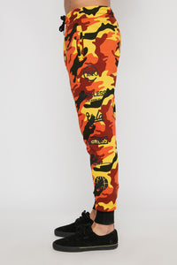 Young & Reckless Mens Orange Camo Jogger
