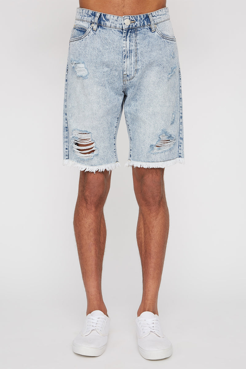 West49 Mens Light Blue Distressed Shorts