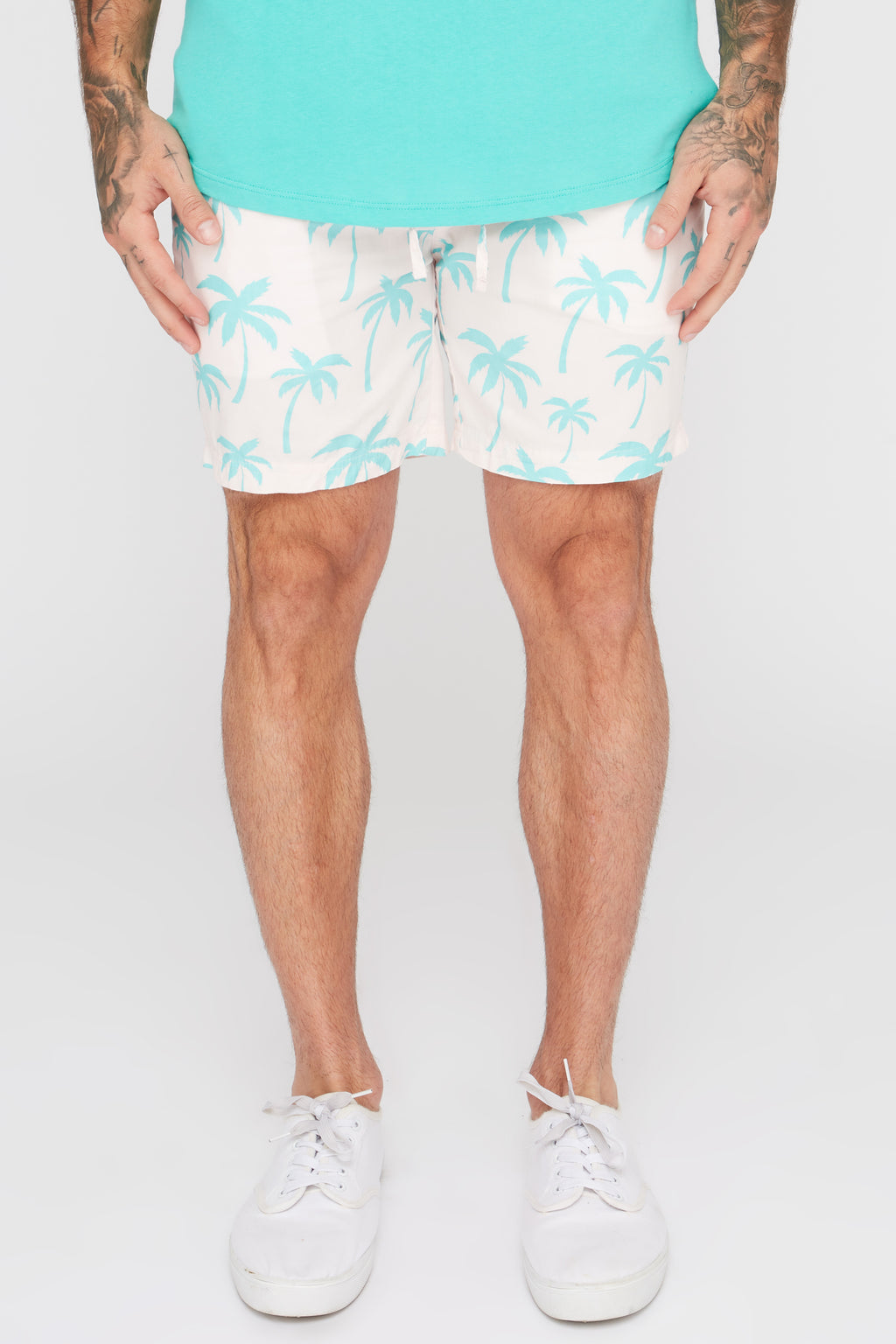 West49 Mens Palm Tree Print Pull-On Shorts