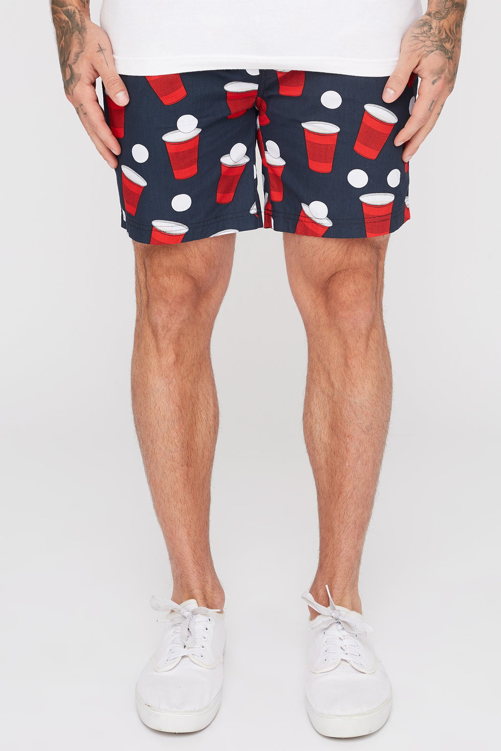 West49 Mens Red Dixie Cup Print Pull-On Shorts