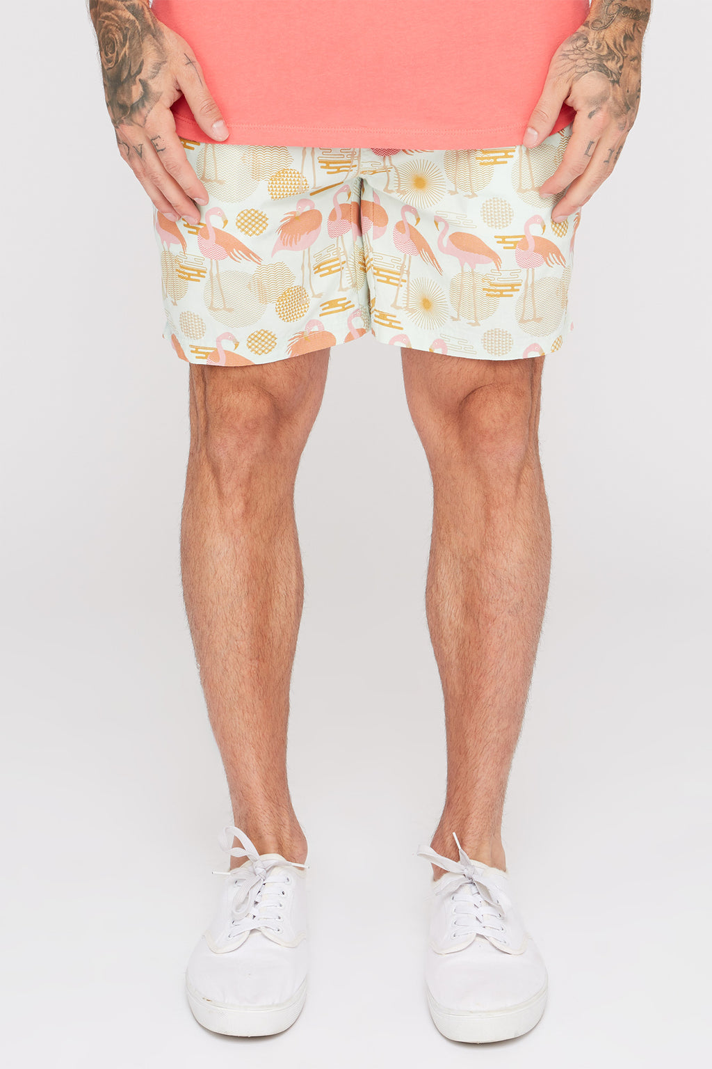 West49 Mens Flamingo Print Pull-On Shorts
