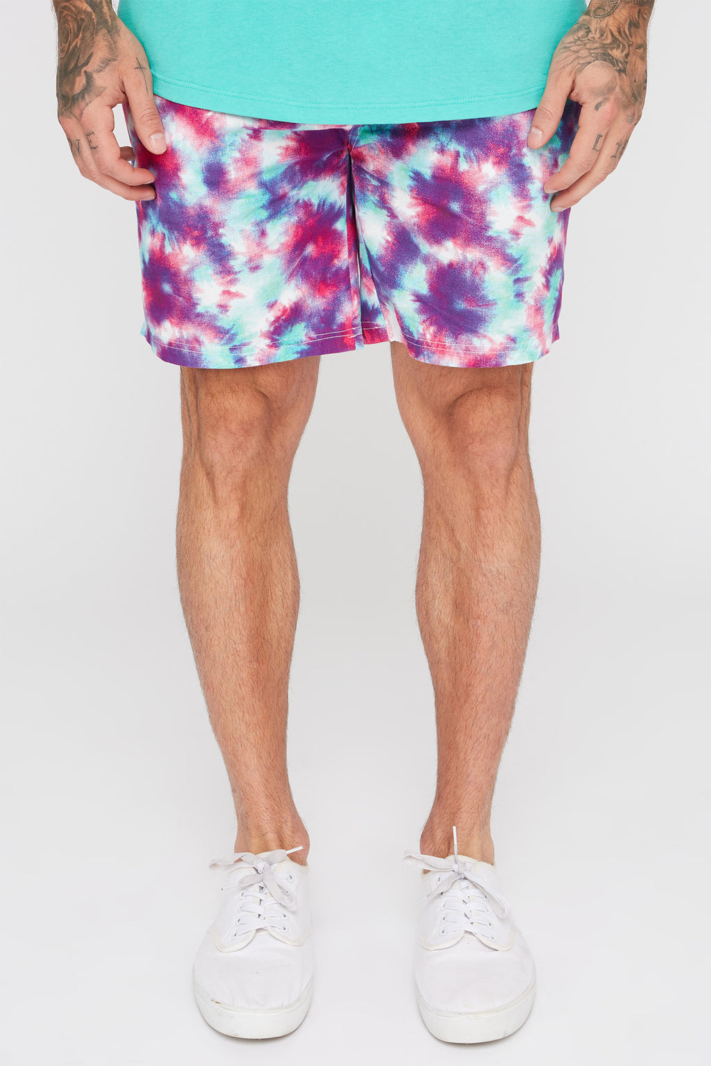 West49 Mens Tie-Dye Print Pull-On Shorts