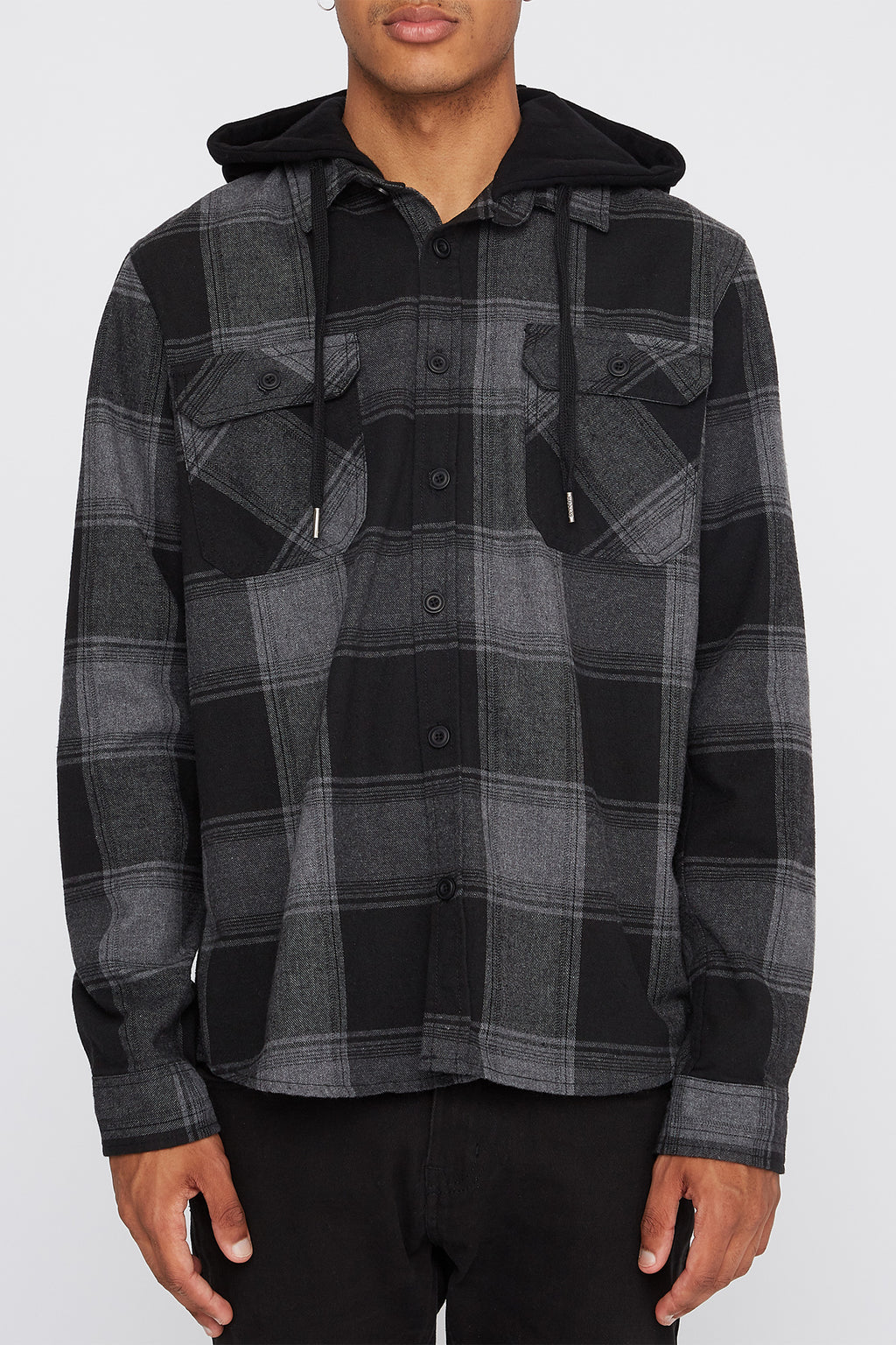 West49 Mens Hooded Flannel Plaid Button-Up Shirt