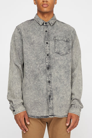 West49 Mens Denim Woven Button Up