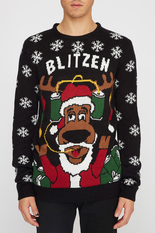 "Christmas Mens ""Blitzen"" Ugly Christmas Sweater"