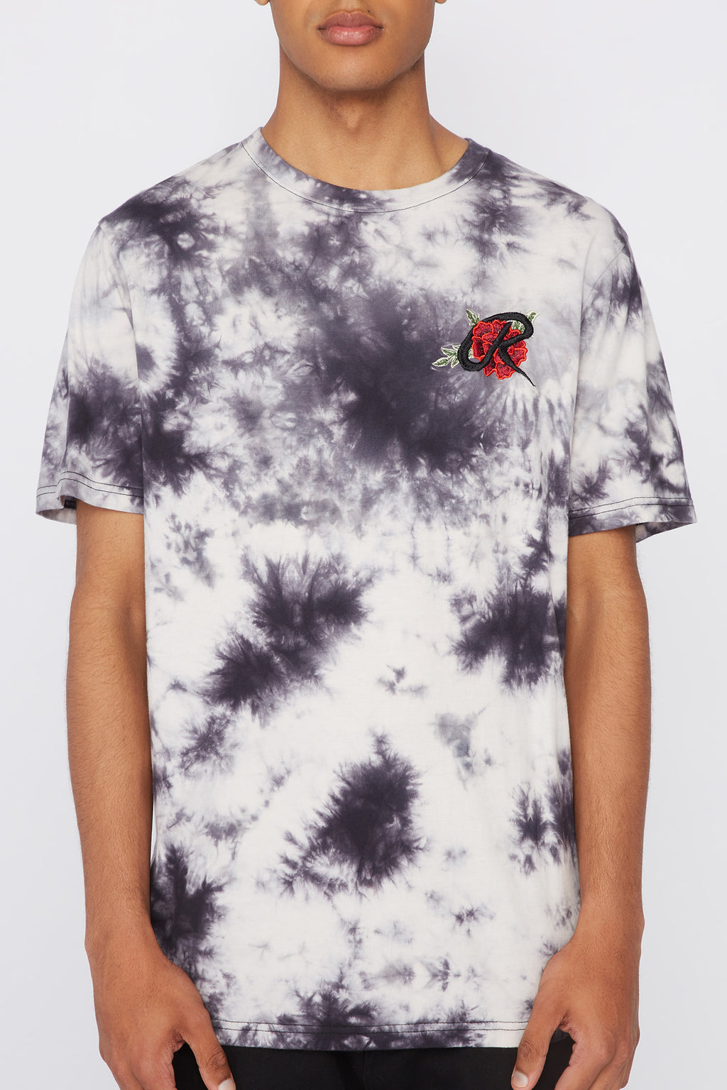 Young & Reckless Mens Embroidered Rose Tie-Dye T-Shirt