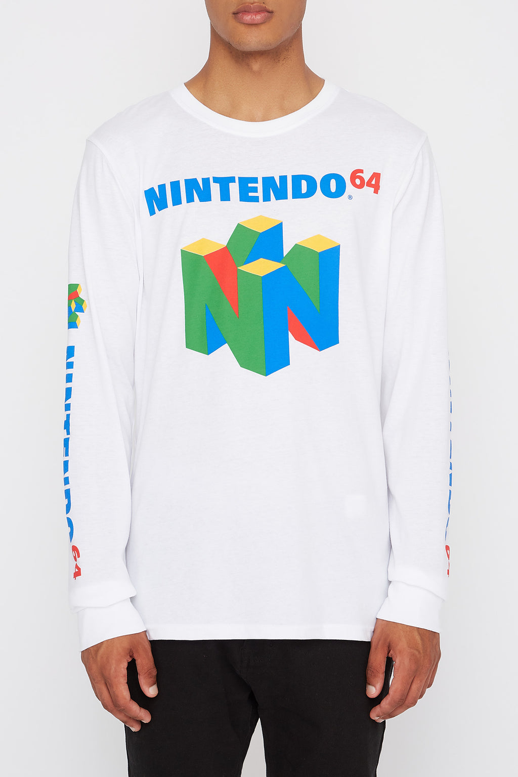 Mens Nintendo64 Logo White Long Sleeve Shirt