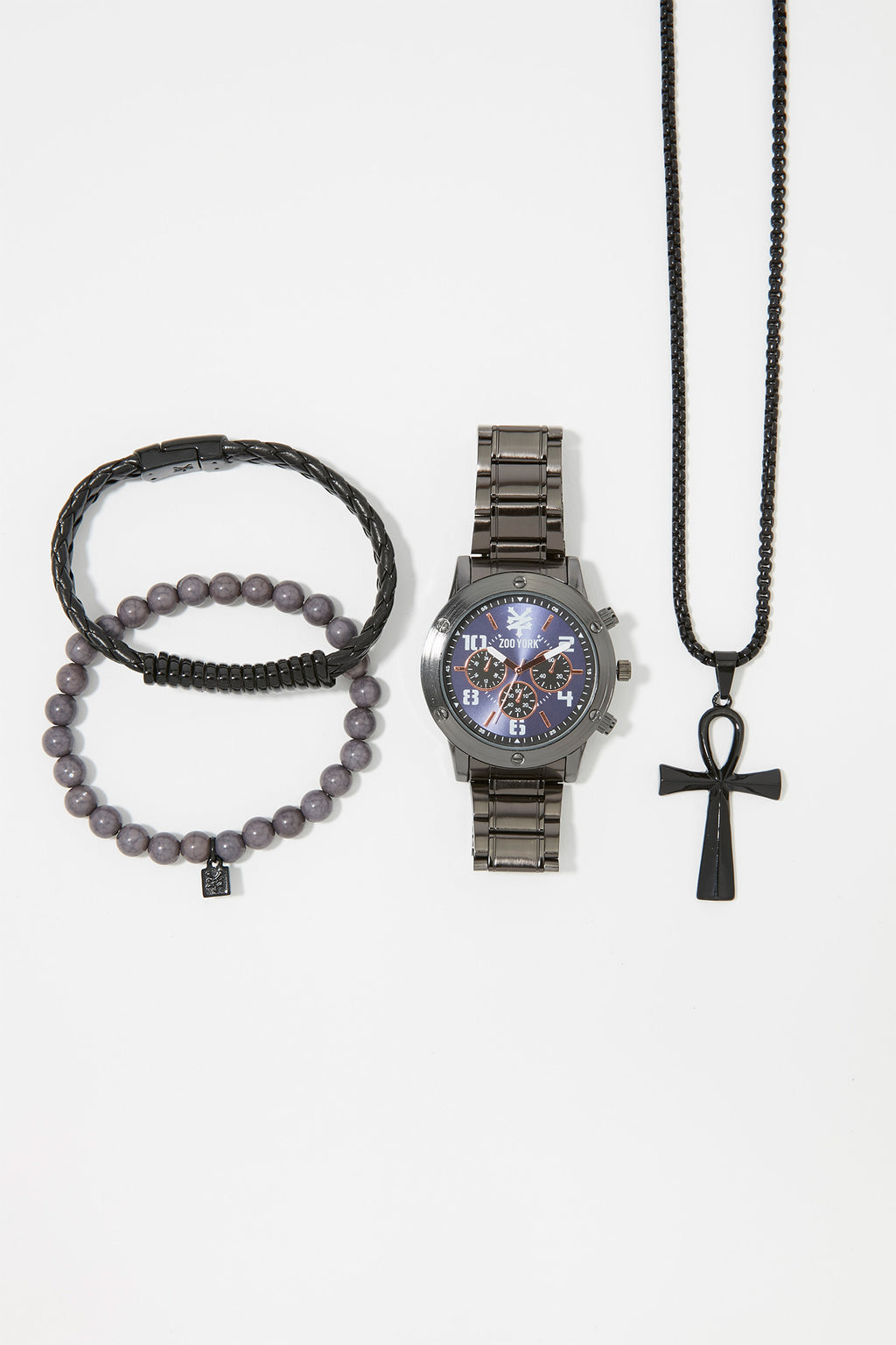 Zoo York Mens Metal Watch With Necklace