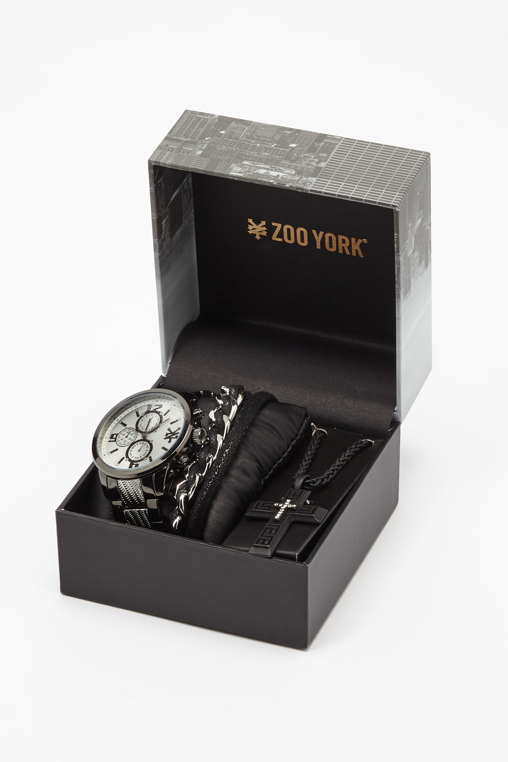 Zoo York Mens Black And Silver-Tone Chronograph Watch