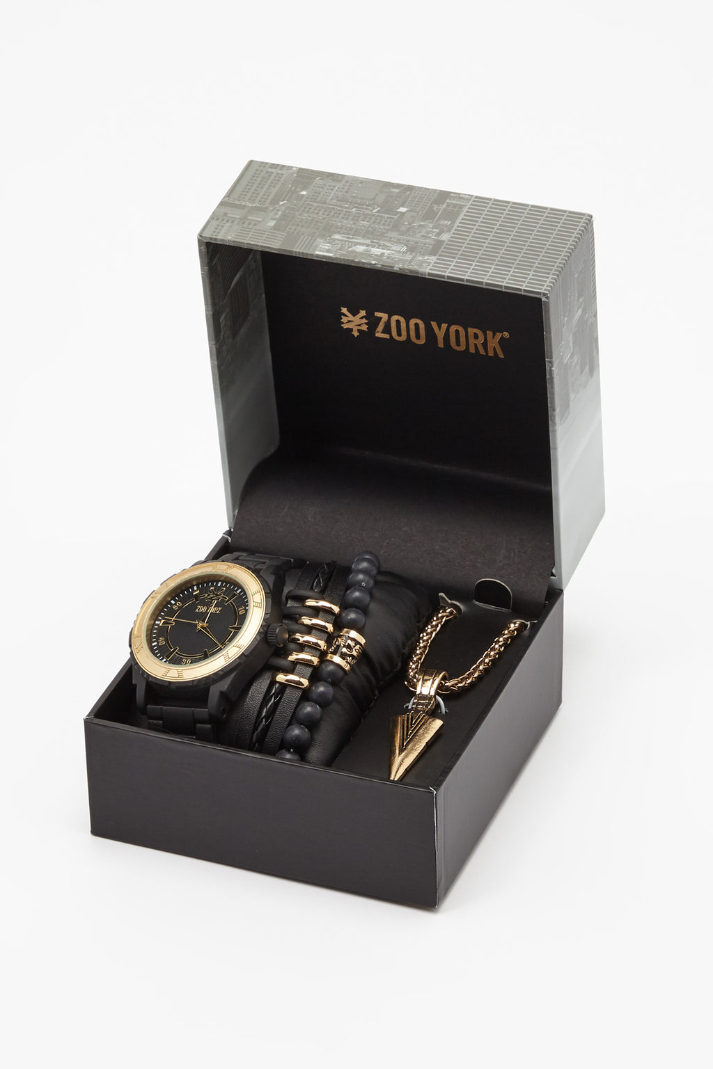 Zoo York Mens Matte Black And Gold-Tone Watch