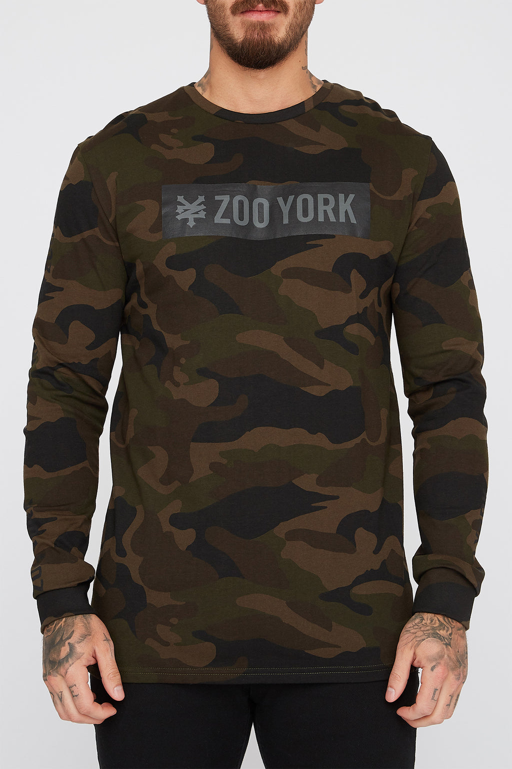Zoo York Mens Camo Box Logo Long Sleeve T-Shirt