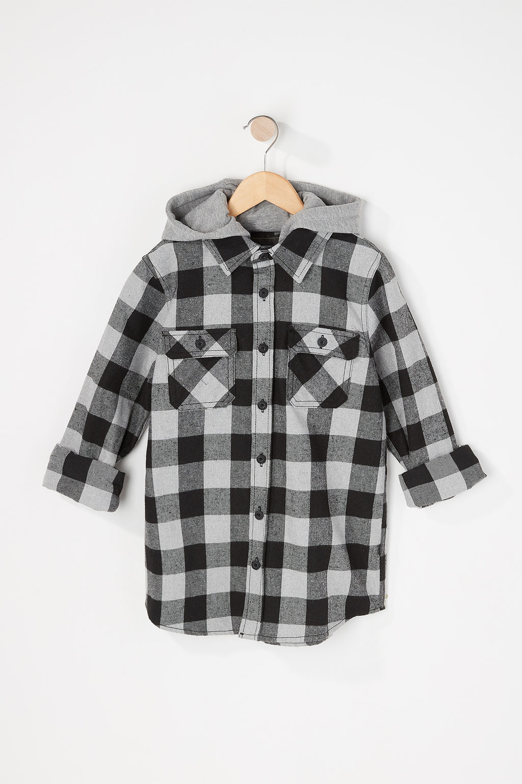 West49 Boys Buffalo Hooded Button-Up Shirt