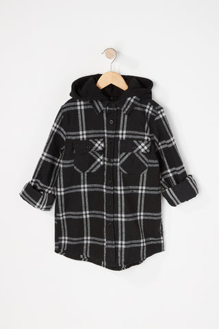 West 49 Boys Plaid 2 Pocket Hooded Button Up