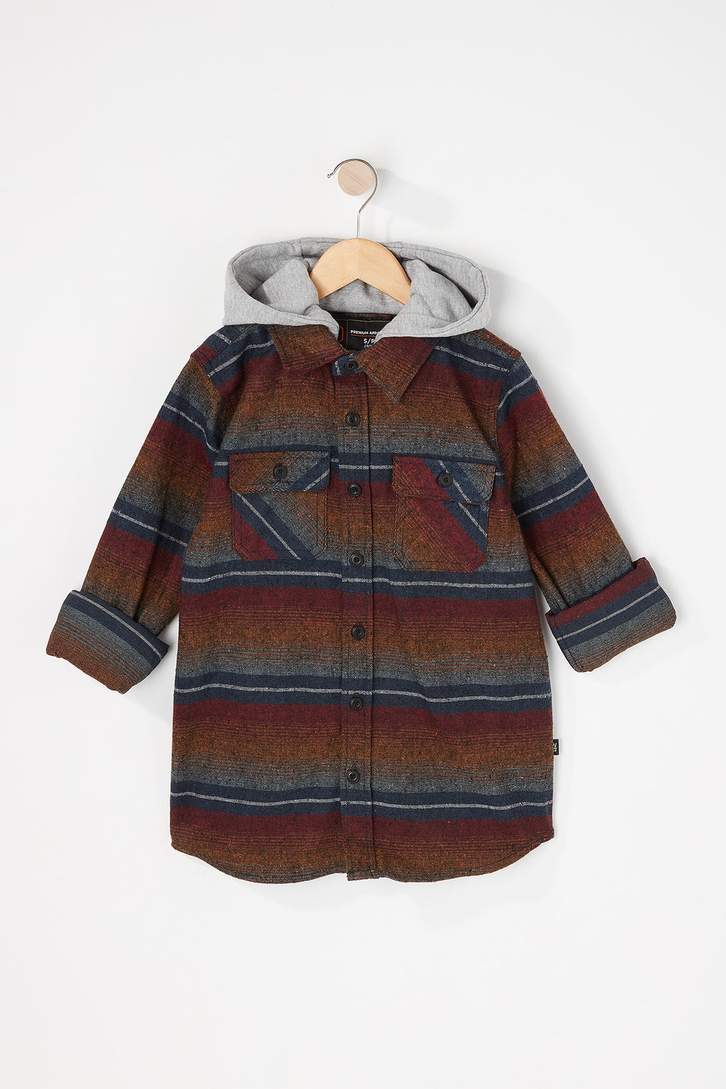 West 49 Boys Striped Plaid 2 Pocket Button Up Hoodie