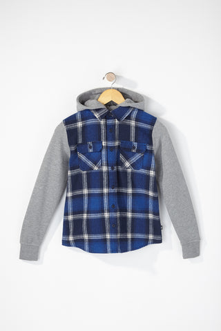 West49 Boys Hooded Plaid Shirt