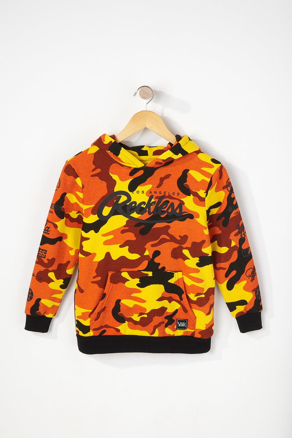 Young   Reckless Boys Orange Camo Hoodie ec9e1287d
