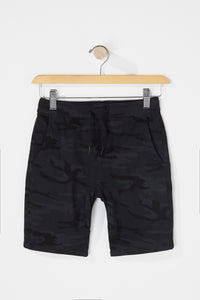 West49 Boys Black Camo Jogger Shorts