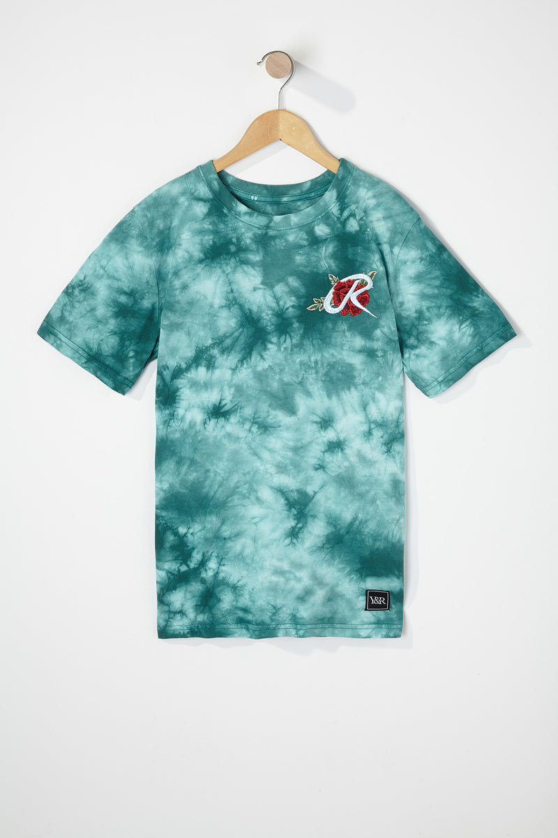 Young & Reckless Boys Embroidered Rose Tie-Dye T-Shirt