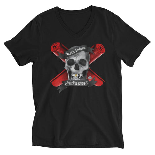 Death Before Childs Pose// Unisex Short Sleeve V-Neck T-Shirt