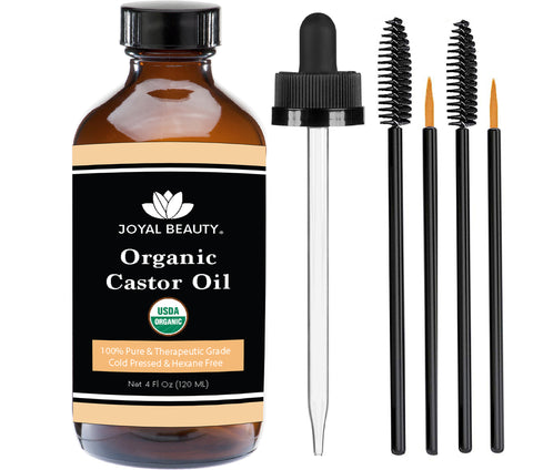 Castor Oil USDA Organic 100% Pure. Large Size (120 ml) for Hair Growth, Eyelashes, Eyebrows and Skin. Bonus FREE Mascara Kits Included