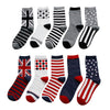 Spring autumn fashion british style patterns socks for men American flag print socks 5pairs/lot