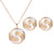 Women Fashion Pattern Round Pendant Necklace Ear Stud Earrings Jewelry Set