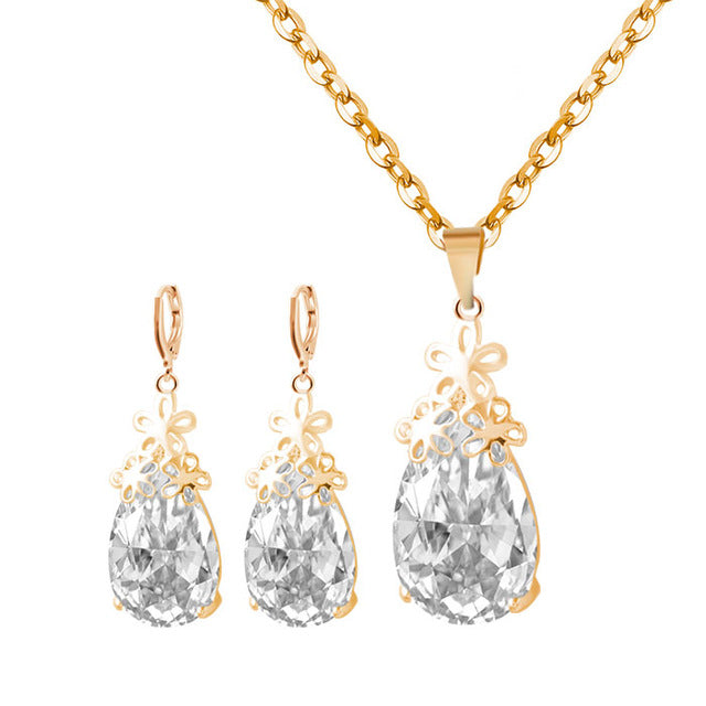 Europe Fashion Trendy Gold and Silver Color Wedding Necklace and