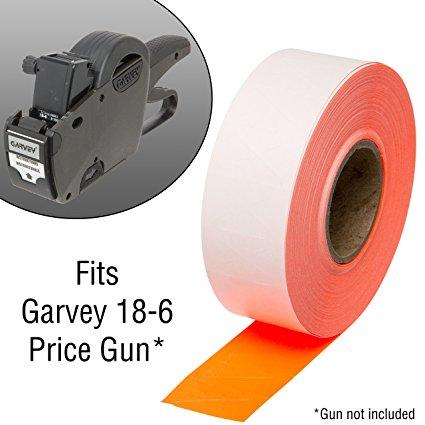 1812 Fluorescent Red Pricing Labels for Garvey 18-6 One Line Price Gun – 11 Rolls – 14,000 Price marking Labels – With Bonus Ink Roll