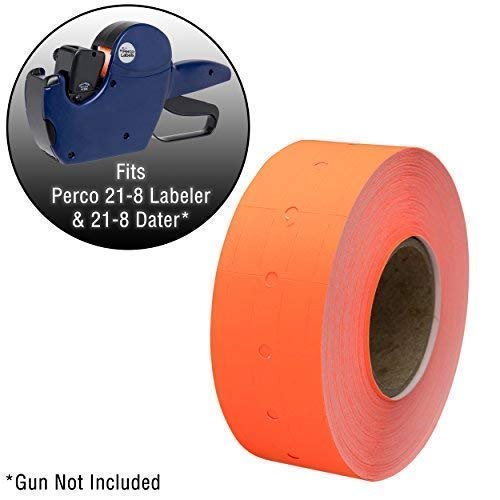 Perco 1 Line Fluorescent Red - 4 Sleeve, 32,000 Blank Pricing Labels for Perco 1 Line Price and Date Guns - Bonus Ink Roll