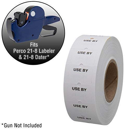 Perco Use by 1 Line Labels - 10 Sleeve, 80,000 use by Labels for Perco 1 Line Date Guns - Bonus Ink Roll
