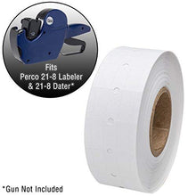 Perco 1 Line White Labels - 1 Sleeve, 8,000 Blank Pricing Labels for Perco 1 Line Price and Date Guns - Bonus Ink Roll